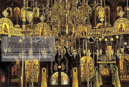 Chypre, monastère de Machairas, candélabres