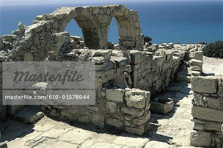 Chypre, Chypre, le site archéologique de Kourion, ruines de la basilique paléochrétienne