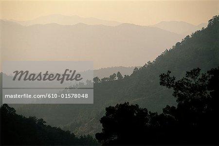 Chypre, montagnes Troodos, Cedar Valley au lever du soleil