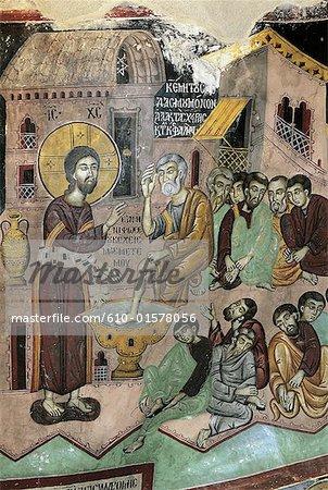 Chypre, près de Paphos, Ayios Neophytos monastery, fresque dans une grotte sculptée