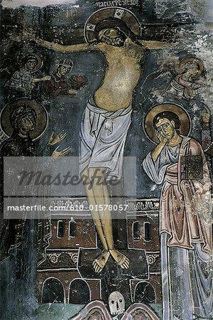 Chypre, près de Paphos, Ayios Neophytos monastery, fresque dans une grotte sculptée, crucifixion