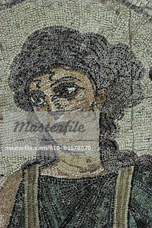 Chypre, site archéologique de Kourion, gros plan de la mosaïque de Ktisis