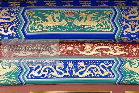 Chine, Beijing, Temple du ciel, Hall de prière pour les bonnes récoltes, décorations