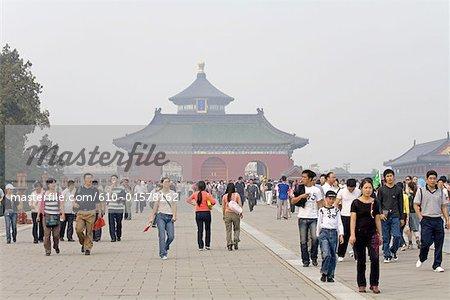 Chine, foule de Beijing, Temple du ciel,