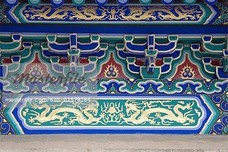 Chine, Beijing, Temple du ciel, Hall de prière pour les bonnes récoltes, détail de l'architecture