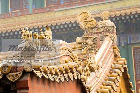 La Chine, près de Pékin, cité interdite, d'un toit