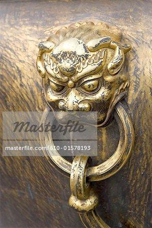 China, Beijing, Forbidden City, close-up of a bronze vase