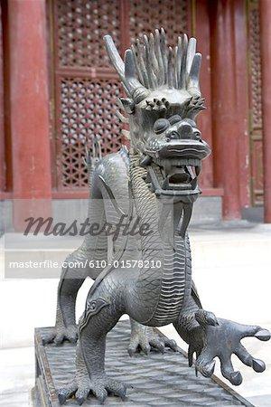 China, Beijing, Summer Palace, statue of dragon