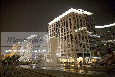 Chine, Beijing, Dong Cheng district, bâtiments dans la nuit