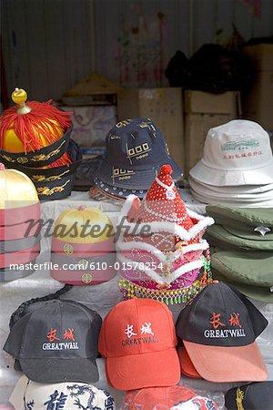 La Chine, près de Beijing, Yu Tian Mu, la grande muraille, chapeaux à vendre