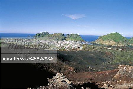 Islande, îles Westmann, Heimaey, volcan Helgafell