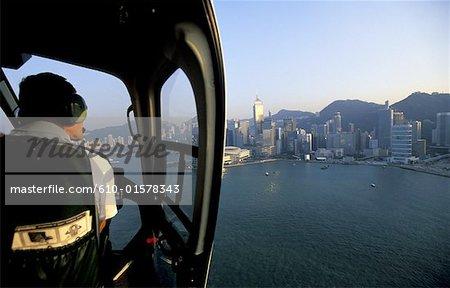 Vue aérienne de la Chine, Hong Kong, du quartier Central d'un hélicoptère