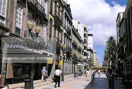 Rue commerçante de Gran Canaria, Las Palmas de Gran Canaria, Espagne, Iles Canaries,