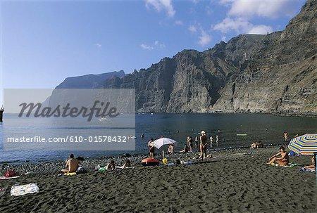 Espagne, Iles Canaries, Tenerife, Los Gigantes, plage