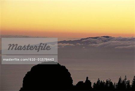 Espagne, Iles Canaries, La Gomera, coucher de soleil