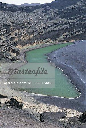 Spanien, Kanarische Inseln, Lanzarote, El Golfo Krater, der Grünen Lagune