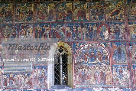Roumanie, Moldavie, province de Bucovine, église du monastère de l'humour, fresque