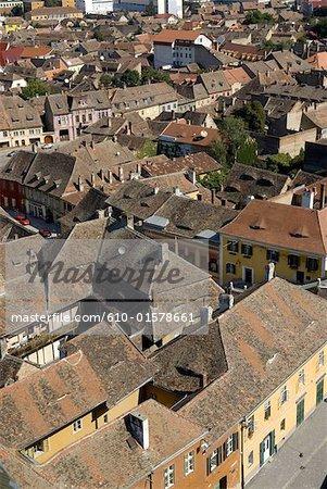 Roumanie, Transylvanie, Sibiu, vue aérienne de la vieille ville