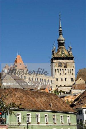 Roumanie, Transylvanie, Sighisoara, tour de l'horloge