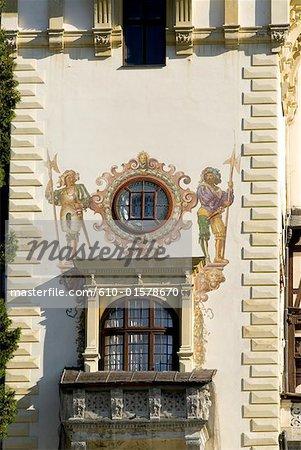 Romania, Muntenia, Sinaia, Peles Castle, fresco