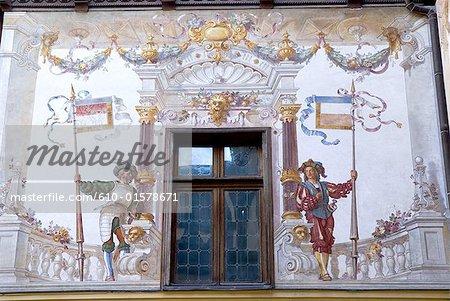 Romania, Muntenia, Sinaia, Peles Castle, trompe l'œil fresco