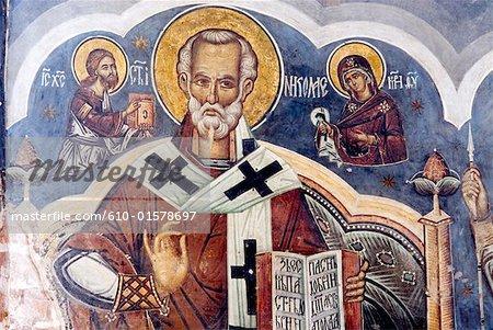 Roumanie, fresque dans l'église orthodoxe