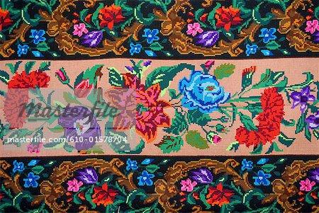 Roumanie, Moldavie, province de Bucovine, tissu traditionnel