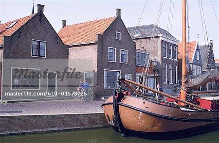 The Netherlands, North Holland, Volendam, sailing ship