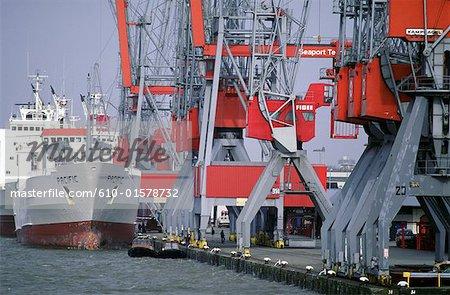 Les pays-bas, la Hollande-méridionale, Rotterdam, port, cargos et grues