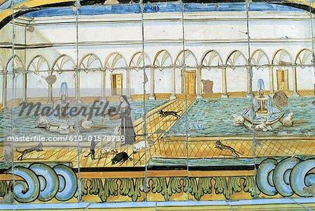 Italie, Campanie, Naples, monastère de Santa Chiara, carreaux de céramique représentant le cloître
