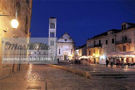 Croatie, Dalmatie, Hvar, cathédrale de St. Stephen