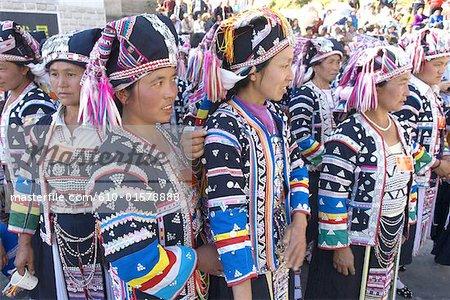 China, Yunnan, Lancang, Aini women wearing traditional costume