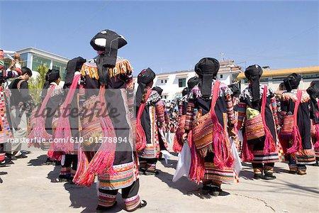 Chine, Yunnan, Lancang, Lahu danseurs
