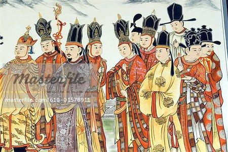 China, Yunnan, Dali, wall painting