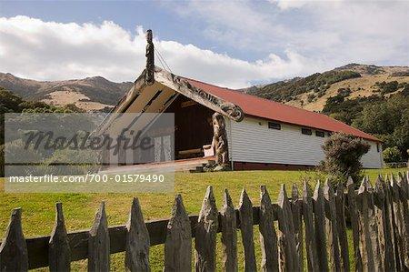Maori Meeting House, Onuku Marae, Onuku, Banks Peninsula, New Zealand