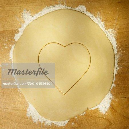 Cookie Dough Cut into a Heart Shape