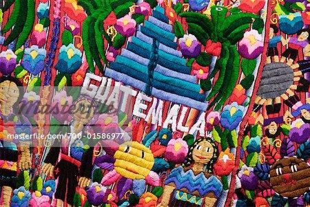 Tapisserie au marché, Antigua, Guatemala