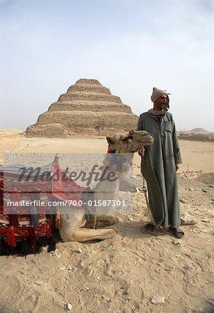 Man and Camel, Pyramid of Djoser, Saqqara, Egypt