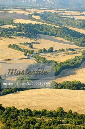 Plateau de Valensole France, Provence, champs de blé, vue aérienne