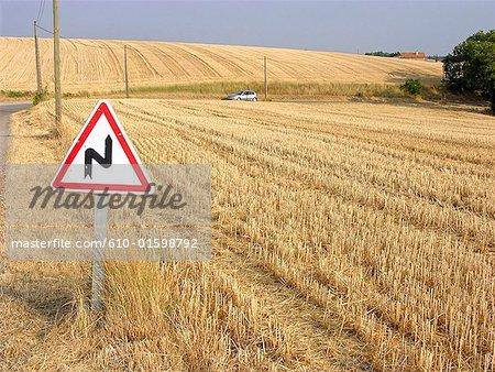 France, Provence, Valensole Plateau, roadsign