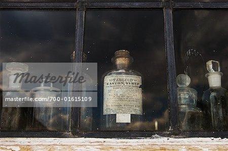 Medicine Bottles in Window