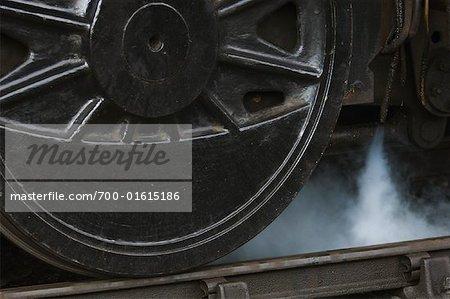Roue de locomotive à vapeur, Norfolk, Angleterre