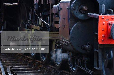 Roues de la locomotive à vapeur, Norfolk, Angleterre