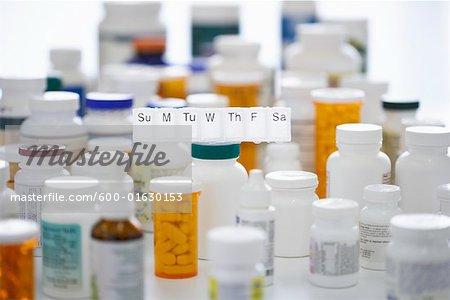 Pills Bottles and Dispenser