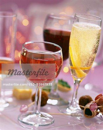 Assorted aperitif cocktails