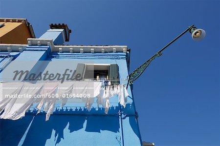 Extérieur de la maison, l'île de Burano, Venise, Italie