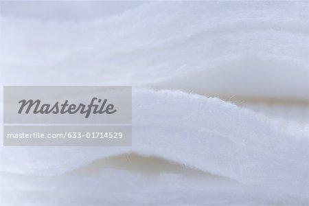 Tampons de coton empilé, très gros plan