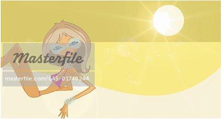 Femme avec des nuances, bikini et bijoux bronzer sur la plage