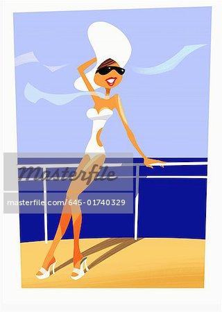 Femme en maillot de bain, chapeau et lunettes de soleil sur le pont d'un bateau
