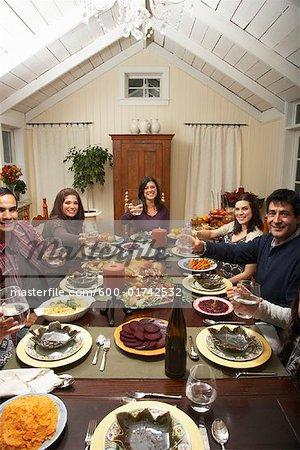 Famille de grillage à l'action de grâces